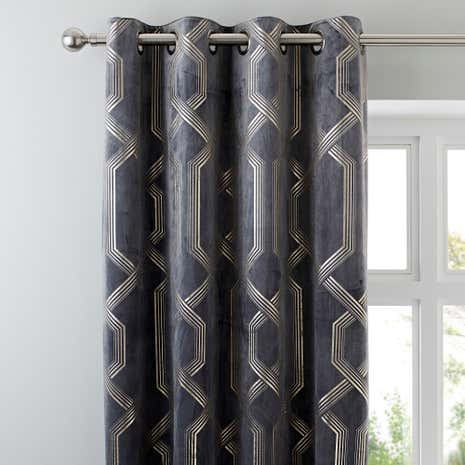 5A Fifth Avenue Bergen Charcoal Eyelet Curtains