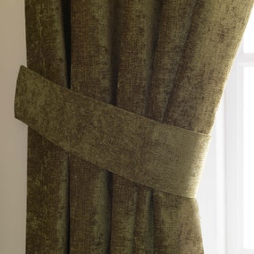 Delightful Chenille Forest Green Tiebacks