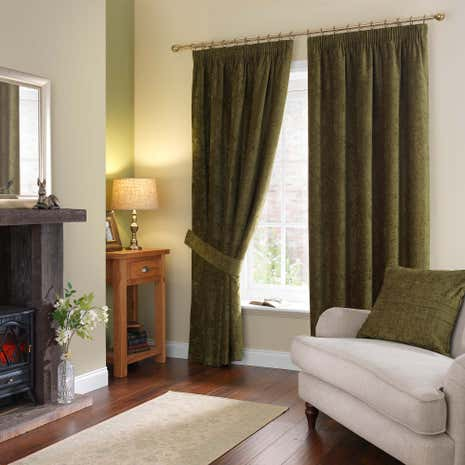 Chenille Forest Green Pencil Pleat Curtains