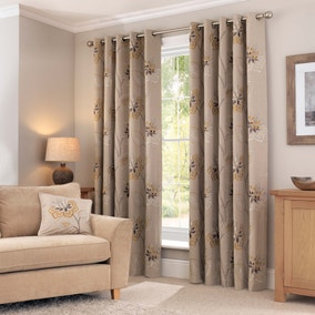 Esme Brushed Ochre Eyelet Curtains