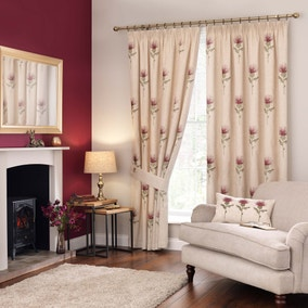 Thistle Red Pencil Pleat Curtains