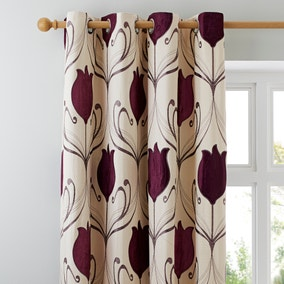 Lalique Plum Eyelet Curtains