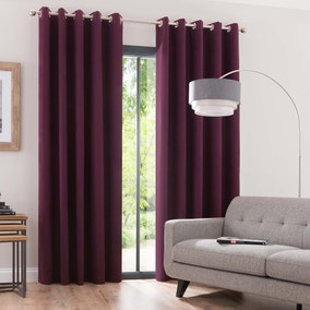 Luna Plum Blackout Eyelet Curtains