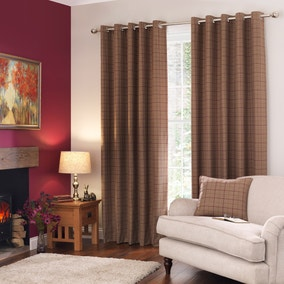 Logan Plum Checked Eyelet Curtains
