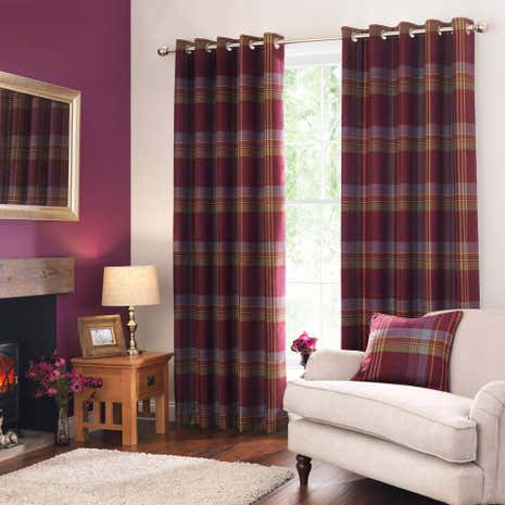 Lewis Check Plum Thermal Eyelet Curtains | Dunelm