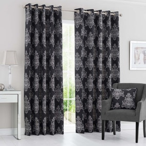 Bordeaux Black Eyelet Curtains