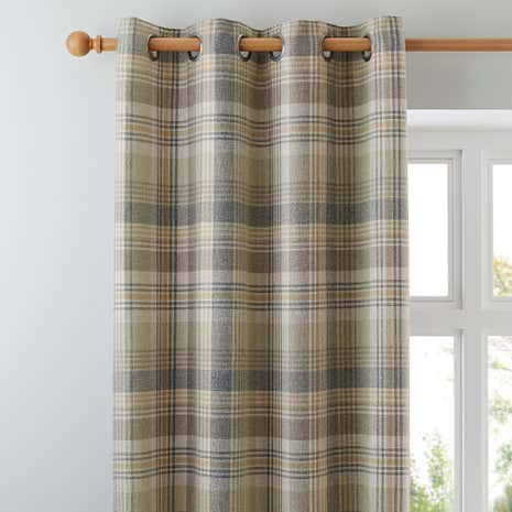 Finley Check Thermal Green Eyelet Curtains