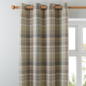Finley Check Green Eyelet Curtains