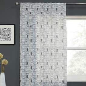 Elements Houses Print Grey Slot Top Voile Panel