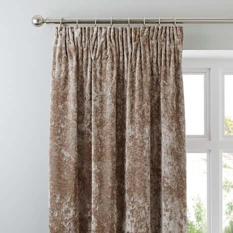 Crushed Velour Champagne Pencil Pleat Curtains