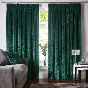 Crushed Velour Emerald Pencil Pleat Curtains