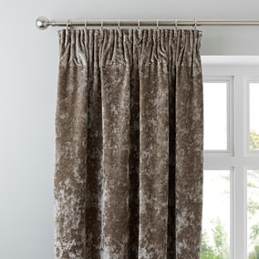 Crushed Velour Mink Pencil Pleat Curtains