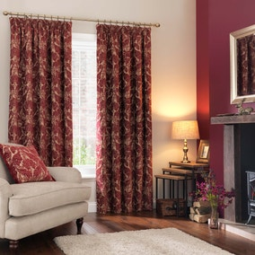 Heritage Bird Red Pencil Pleat Curtains
