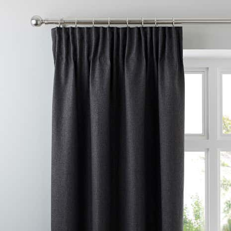 Harris Charcoal Thermal Pencil Pleat Curtains