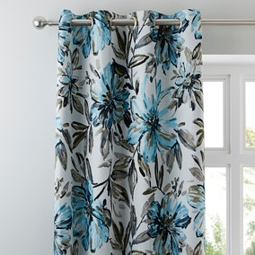 Sophia Blue Eyelet Curtains