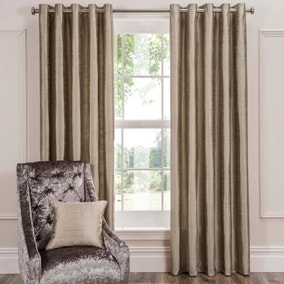 Dorma Beresford Champagne Silk Eyelet Curtains