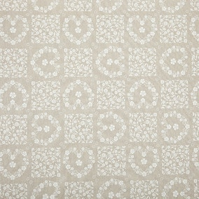 Beige Floral Heart PVC Fabric