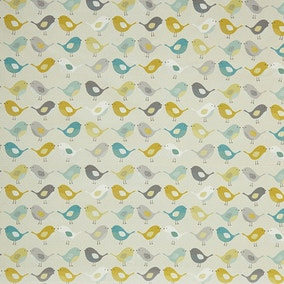 Ochre Scandi Birds PVC Fabric