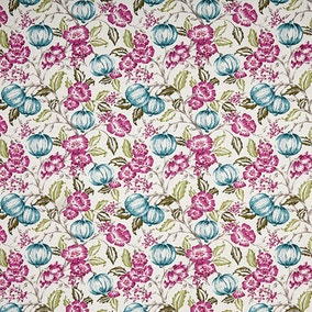 Ashcombe Floral Teal Fabric
