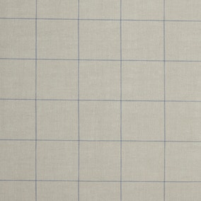 Blue Linen Check PVC Fabric