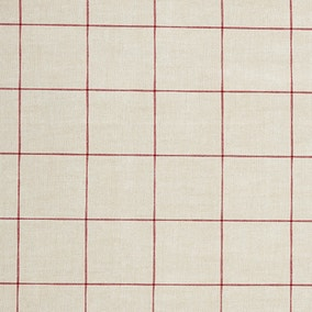Red Linen Check PVC Fabric