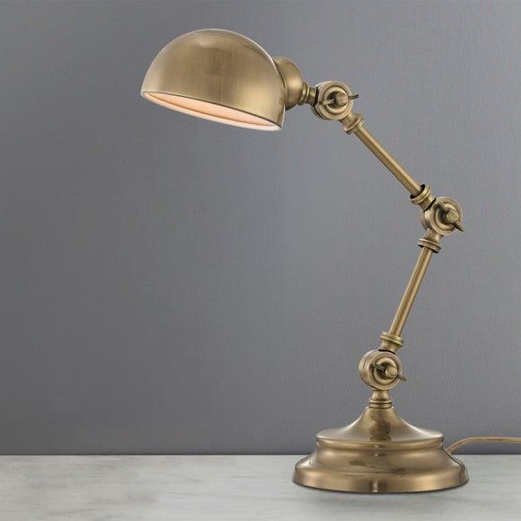 Dorma Kingston Antique Brass Task Lamp | Dunelm