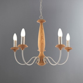 Jarez Oak 5 Light Fitting