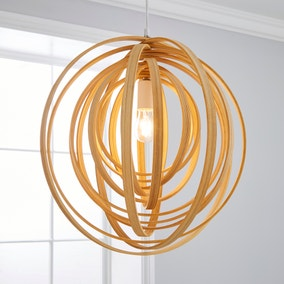 Elements Natural Bamboo Effect Light Fitting
