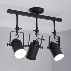 Healy Black 3 Spotlight Ceiling Fitting