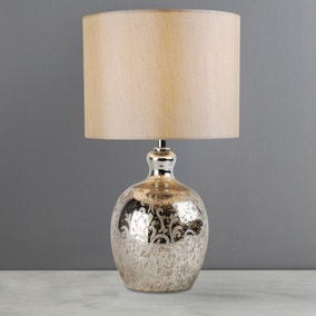 Vellisca Floral Etched Mercury Glass Table Lamp