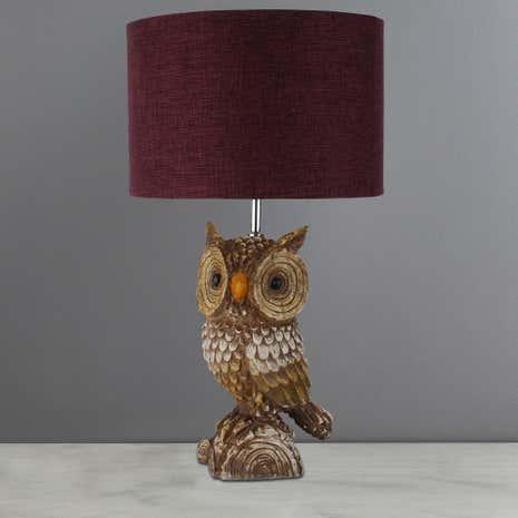 Capri Rustic Owl Table Lamp Burgandy