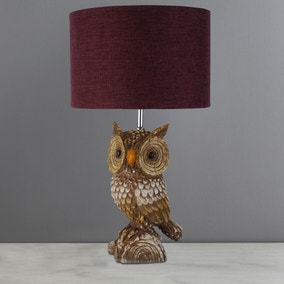 Capri Rustic Owl Table Lamp Burgandy