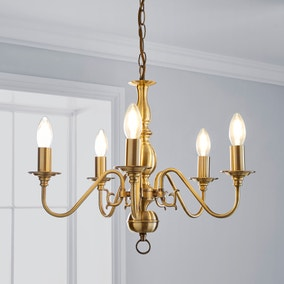 Augusta Antique Brass 5 Light Ceiling Fitting