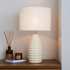 Norden White Ribbed Ceramic Table Lamp