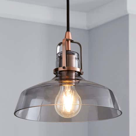 Ceiling lights pendant flush lights dunelm suva smoke glass pendant fitting aloadofball Images
