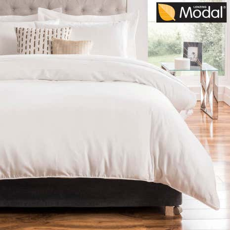 5A Fifth Avenue Modal White Pintuck Duvet Cover