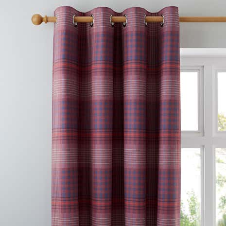 Declan Checked Blackout Eyelet Curtains