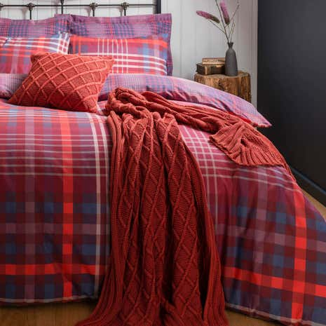 Declan Check Reversible Duvet Cover and Pillowcase Set