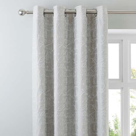 Etienne Stone Jacquard Blackout Eyelet Curtains