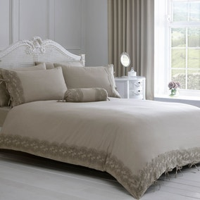 Gretta Grey Lace Duvet Cover and Pillowcase Set