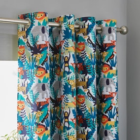 Jungle Blackout Eyelet Curtains
