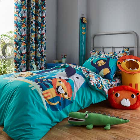 jungle friends duvet cover and pillowcase set