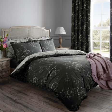 Pivoine Grey Reversible Duvet Cover And Pillowcase Set