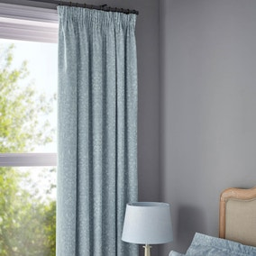 Marsella Blue Jacquard Pencil Pleat Blackout Curtains