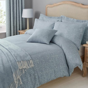 Marsella Blue Jacquard Duvet Cover and Pillowcase Set