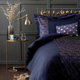 octavia emboridered navy blue duvet cover and pillowcase set