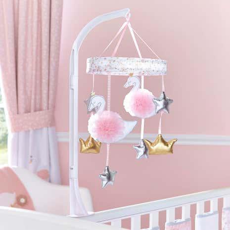 Swan princess cot mobile dunelm for Princess crib mobile