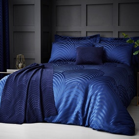 Theo Blue Jacquard Duvet Cover and Pillowcase Set