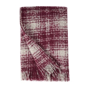 Berry Check Faux Mohair Throw