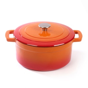 Orange Cast Iron Casserole Dish